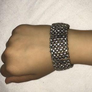Silver Rhinestone Crystal Jewel Encrusted Bracelet